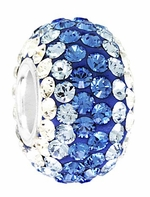 Beadles Silver  Light Blues Swarovski Crystal Bead