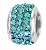 Beadles Silver March Birthstone Wide Spacer Bead