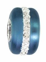 Beadles Silver Ocean Blue Frosted Glass White Crystals Bead