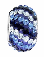 Beadles Silver Ocean Blues Stripes Swarovski Crystal Bead