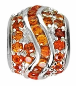 Beadles Silver Orange CZ Fancy Spacer Bead