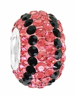 Beadles Silver Pink and Black Stripes Swarovski Crystal Bead