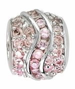 Beadles Silver Pink CZ Fancy Spacer Bead