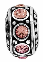 Beadles Silver Pink CZ Spacer Bead