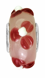 Beadles Silver Pink Red Glass Bead