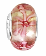 Beadles Silver Pinks Glass Bead