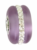 Beadles Silver Purple Frosted Glass White Crystals Bead