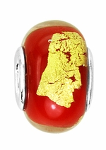 Beadles Silver Red and Gold Glass Bead