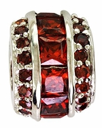 Beadles Silver Red Crystal Spacer Bead
