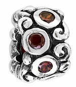 Beadles Silver Red CZ Crystal Spacer Bead