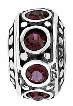 Beadles Silver Red CZ Spacer Bead