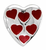 Beadles Silver Red Enamel Heart Shape Bead