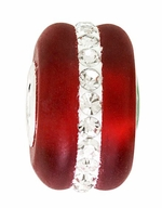 Beadles Silver Red Frosted Glass White Crystals Bead