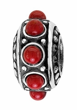 Beadles Silver Red Stones Spacer Bead