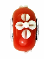 Beadles Silver Red White Flower Glass Bead