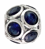 Beadles Silver Spheres Blue Crystal Bead