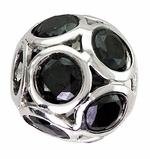 Beadles Silver Spheres Dark Blue Crystal Bead