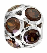 Beadles Silver Spheres Dark Red Crystal Bead