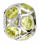 Beadles Silver Spheres Lime Yellow Crystal Bead