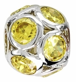 Beadles Silver Spheres Yellow Crystal Bead