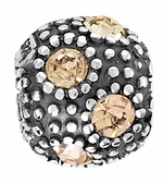 Beadles Silver Tan CZ Crystal Spacer Bead