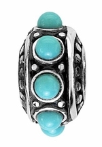 Beadles Silver Turquoise Stones Spacer Bead
