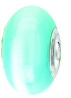 Beadles Silver Very Light Blue Cats Eye Bead