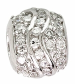 Beadles Silver White CZ Fancy Spacer Bead