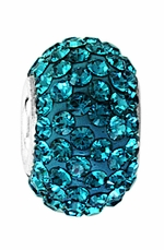 Beadles Silver Xillion Cut Swarovski Blue Zircon Crystal Bead