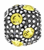 Beadles Silver Yellow CZ Crystal Spacer Bead