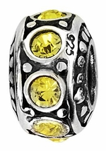 Beadles Silver Yellow CZ Spacer Bead