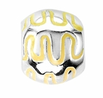 Beadles Silver Yellow Enamel Design Spacer Bead