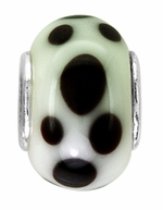 Beadles White and Black Dots Glass Bead