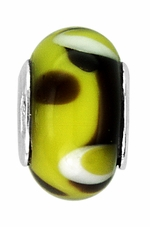 Beadles Yellow and Black Glass Bead