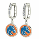Boise State Broncos Enamel Large CZ Hoop Earrings