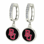 Boston University Terriers Enamel Large CZ Hoop Earrings