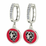 Bridgewater State Bears Enamel Large CZ Hoop Earrings
