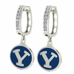 Brigham Young BYU Enamel Large CZ Hoop Earrings
