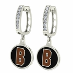 Brown Bears Enamel Large CZ Hoop Earrings