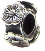 Carlo Biagi Silver Band of Flowers Bead