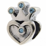 Carlo Biagi Silver Blue CZ Heart with Crown Bead