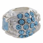 Carlo Biagi Silver  Light Blue CZ Bead