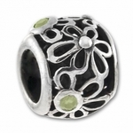 Carlo Biagi Silver Light Green CZ Flowers Bead