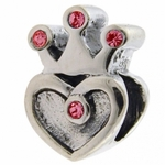 Carlo Biagi Silver Pink CZ Heart with Crown Bead