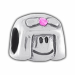 Carlo Biagi Silver Pink CZ Little Girl Bead