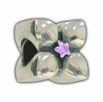 Carlo Biagi Silver Purple CZ Flower Bead