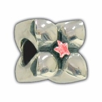 Carlo Biagi Silver Red CZ Flower Bead