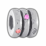 Carlo Biagi Silver Red/Pink/Clear CZ Rings Bead