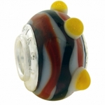 Carlo Biagi Silver Silver Orange Murano Glass Bead