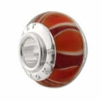 Carlo Biagi Silver Stripes Tangerine/Red Murano Glass Bead